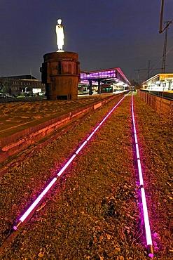 Rail trail from LEDs, artistic lighting installation, Museumsbahnsteig museum platform Oberhausen, Ruhrgebiet region, North Rhine-Westphalia, Germany, Europe