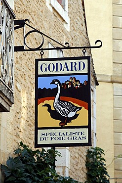 Goose, sign, foies gras pate shop, Sarlat, Aquitaine, Dordogne, France, Europe
