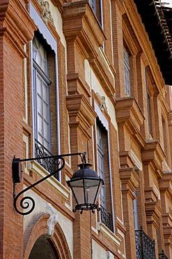 Red brick architectural detail, Place National, Montauban, Tarn-et-Garonne, France, Europe