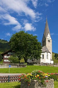 Church of St. Jodok in Mittelberg, Kleinwalsertal, Little Walser Valley, Allgaeu, Vorarlberg, Austria, Europe