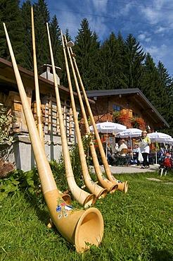 Alphorns at Max's Huette alpine hut at Mittelberg, Kleinwalsertal, Allgaeu, Vorarlberg, Austria, Europe