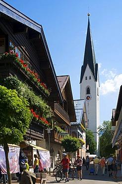 Church Street and church in Oberstdorf, Allgaeu, Bavaria, Germany, Europe