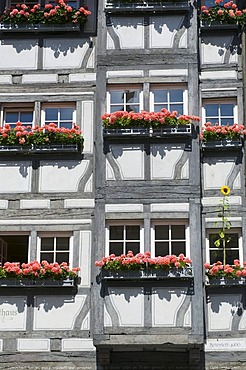 Half-timbered building, Maximilianstrasse street in the old town, Lindau, Bavaria, Germany, Europe