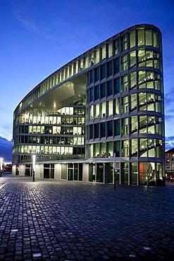 Office building next to the Westhafen Tower skyscraper of the OFB designed by the architects Schneider + Schumacher and OFB project development GmbH, won the German Urban Development Prize 2004, Westhafenplatz, Frankfurt am Main, Hesse, Germany, Europe