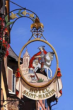 "Hotel sign ""Hotel Saint Martin"", Grand'Rue, Colmar, Alsace, France, Europe"