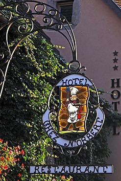"""Hotel sign """"Chez Norbert"""", Bergheim, Alsace, France, Europe"""
