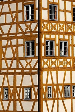 Franconian half-timbere on the old town hall, mid-15th century, Obere Bruecke bridge 1, Bamberg, Upper Franconia, Bavaria, Germany, Europe