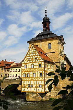 Old town tall with half-timbered house and Obere Bruecke bridge on an island in the river Regnitz, UNESCO World Heritage Site Bamberg, Upper Franconia, Bavaria, Germany, Europe