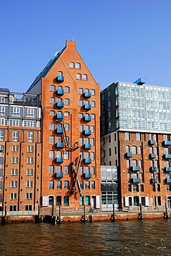 Harbour Hamburg, former warehouse, Altona district, Elbe river, Hanseatic City of Hamburg, Germany, Europe