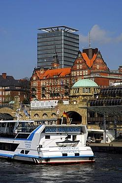 Harbor tour in the Hamburg harbor, Landungsbruecken jetties, St. Pauli district, Elbe river, the Hanseatic City of Hamburg, Germany, Europe