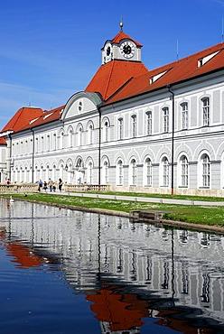 Schloss Nymphenburg palace, park at the Nymphenburger Schlosskanal palace canal, Neuhausen-Nymphenburg, Munich, Upper Bavaria, Bavaria, Germany, Europe