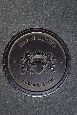 Manhole cover, Lausanne, Lake Geneva, Canton Vaud, Switzerland, Europe