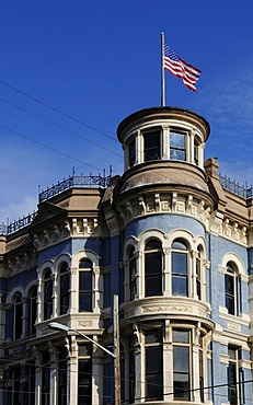 American flag on a building, Port Townsend, Washington State, USA