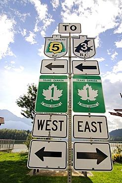 Highway sign, Trans Canada Highway, Hope, British Columbia, Canada
