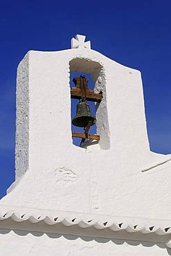 Bell tower, fortified church Parroquia de Sant Carles de Peralta, Ibiza, Pine Islands, Balearic Islands, Spain, Europe