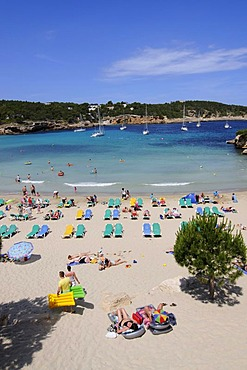 Beach, Cala S'Arenal Gran, Portinatx, Ibiza, Pine Islands, Balearic Islands, Spain, Europe