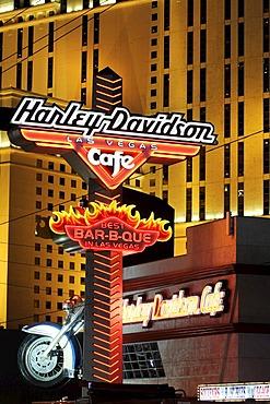Planet Hollywood Hotel, Harley Davidson Cafe, sign, Las Vegas, Nevada, USA