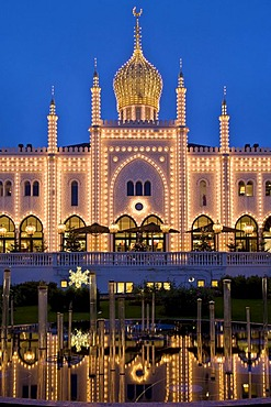 Festively illuminated restaurant Nimb in Tivoli, Copenhagen, Denmark, Europe
