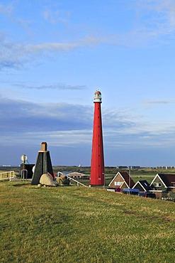 Dike, sculpture, Lange Jaap Lighthouse, Kijkduin, Den Helder, province of North Holland, Netherlands, Europe
