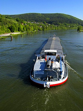 Cargo boat on the river Main, Lohr am Main, Bavaria, Germany, Europe