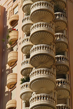 Round balconies of a high rise apartment building in the Le Larvotto district, Principality of Monaco, Cote d'Azur, Europe