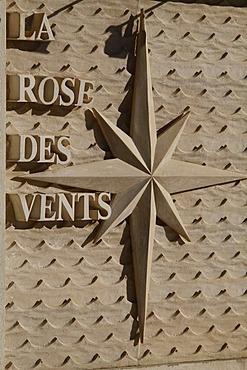 Windrose outside the La Rose des Vents restaurant, Le Larvotto beach, Principality of Monaco, Cote d'Azur, Europe