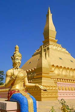 Theravada Buddhism, new golden stupa That Luang Namtha with figure, Luang Namtha, Laos, Southeast Asia, Asia
