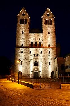 Abdinghof monastery at night, Protestant parish, Paderborn, North Rhine-Westphalia, Germany, Europe