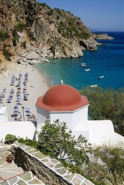 Chapel on Kyra Panagia Beach on the Greek island of Karpathos, Greece, Europe