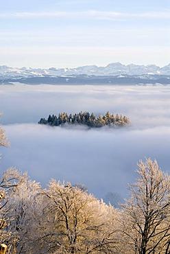 Clouds on Mt. Uetliberg near Zurich, panorama of the Swiss Alps, Switzerland, Europe