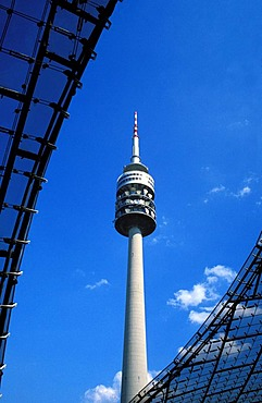 Olympiaturm Olympic tower and Olympic roof, Olympiapark Olympic Park, Olympic Games, Munich, Bavaria, Germany, Europe