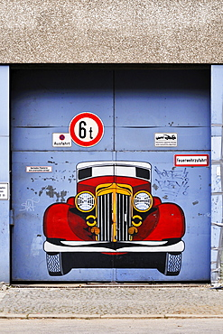 Garage exit with graffiti, Munich, Bavaria, Germany, Europe