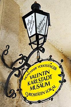 Sign, Valentin Karlstadt Musaeum on Isartor gate, Munich, Bavaria, Germany, Europe