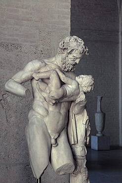 Fatherly Silenus with the young Dionysus, Glyptothek museum, Munich, Bavaria, Germany, Europe