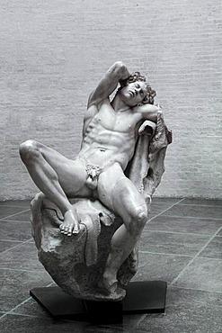 "The large sleeping Satyr ""der Barberinische Faun"", Barberini Faun, Glyptothek museum, Munich, Bavaria, Germany, Europe"