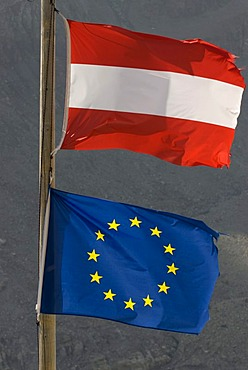 EU and Austrian Flag, Nationalpark Kalkalpen Limestone Alps national park, Upper Austria, Austria, Europe