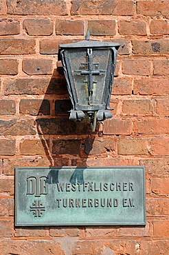 Westfaelischer Turner Bund, WTB, Westphalian gymnastics association, conference center, sign, Oberwerries Castle, Hamm, Muensterland region, North Rhine-Westphalia, Germany, Europe