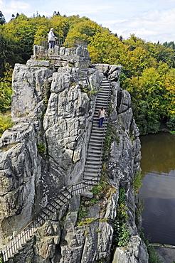 Externsteine sandstone rock formation, nature reserve, Horn Bad Meinberg, Teutoburg Forest, Kreis Lippe district, North Rhine-Westphalia, Germany, Europe