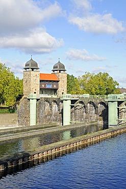 Old shaft lock, Henrichenburg boat lift, Schleusenpark, Waltrop Lock Park, Westphalian Industrial Museum, Route of Industrial Heritage, Dortmund Ems Canal, Waltrop, North Rhine-Westphalia, Germany, Europe