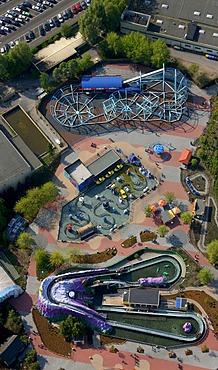 Aerial photo, Movie Park amusement park, Kirchhellen, Bottrop, Ruhr area, North Rhine-Westphalia, Germany, Europe
