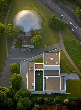 Aerial photo, synagogue, planetarium, Hildegardisschule school, Bochum, Ruhrgebiet area, North Rhine-Westphalia, Germany, Europe