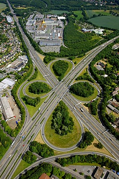 Aerial photo, BAB junction of the A43 and A40 motorways, Bochum, Ruhrgebiet area, North Rhine-Westphalia, Germany, Europe