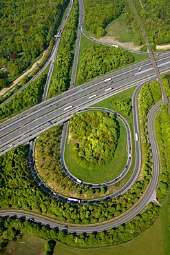 Aerial photo, A2 and A31 Friesenspiess motorway junction, Bottrop, Ruhrgebiet area, North Rhine-Westphalia, Germany, Europe