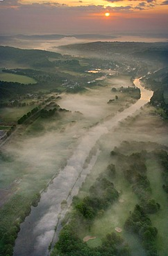 Aerial photo, Ruhr River with morning mist, Werden and Kettwig, Essen, Ruhr area, North Rhine-Westphalia, Germany, Europe