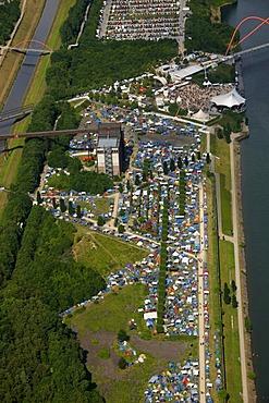 Aerial photo, Rock Hard Festival, BuGa Grounds, Ge-Horst, Rhein-Herne Canal, Buer, Gelsenkirchen, Ruhr area, North Rhine-Westphalia, Germany, Europe