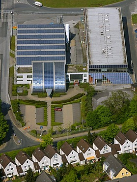 Aerial photo, Shell Solar Factory Rotthausen, Gelsenkirchen, Ruhr area, North Rhine-Westphalia, Germany, Europe