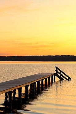 Jetty, Lake Starnberg, Five Lakes District, Upper Bavaria, Bavaria, Germany, Europe