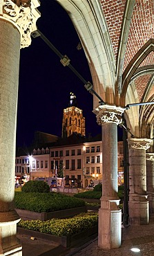 Grote Markt square, in the back the tower of the Gothic Sint-Walburgakerk church, Sint-Walburga church, view from the portico of the city hall by Henri van Pede, Oudenaarde, Flanders, Belgium, Europe