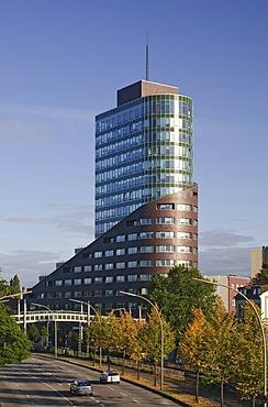 Modern office tower Channel, Channel Harburg, Harburg Hafen port district of Harburg, Hamburg, Germany, Europe