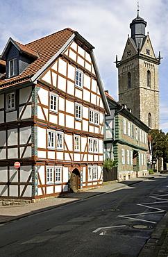 Half-timbered houses and St. Kilian Church, Korbach, Hesse, Germany, Europe
